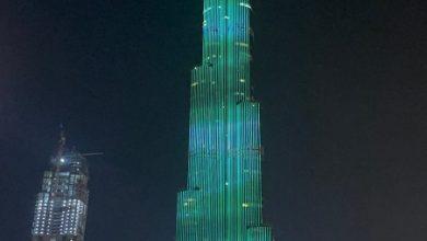 Photo of برج خليفة يتوشح بعلم المملكة بمناسبة اليوم الوطني